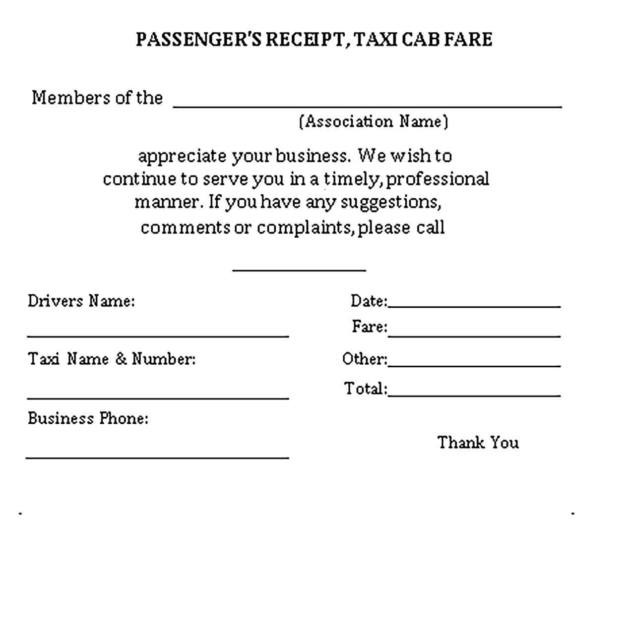 Sample of a Taxi Receipt Templates