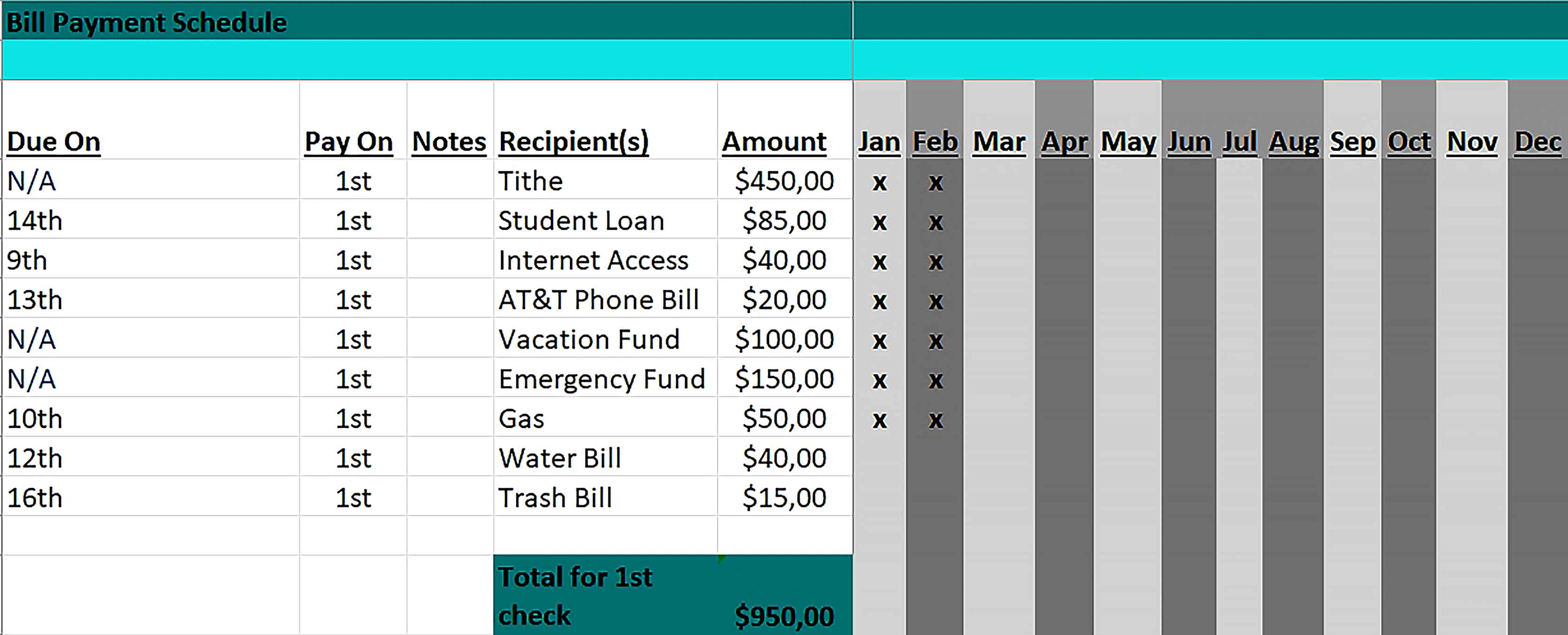 Template Bill Payment Schedule Excel Format Sample