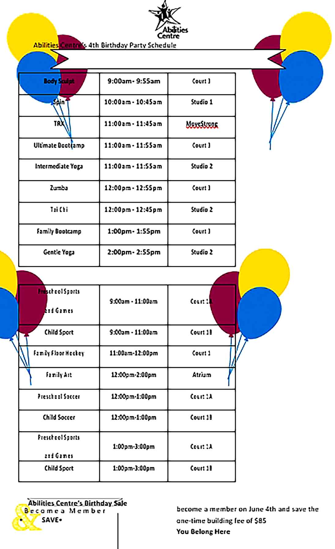 Template Birthday Party Schedule Sample