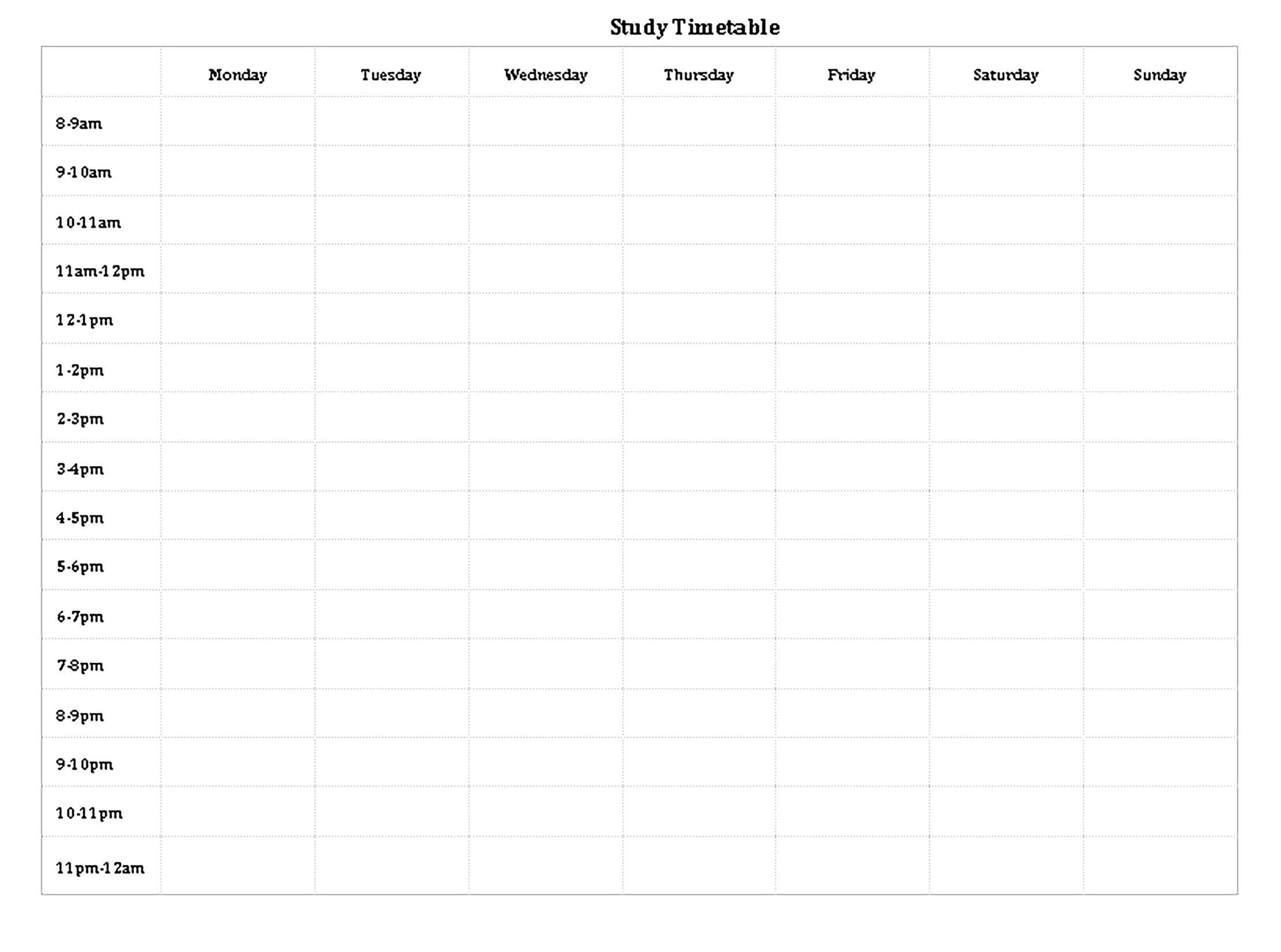 Template Blank Study Timetable Sample