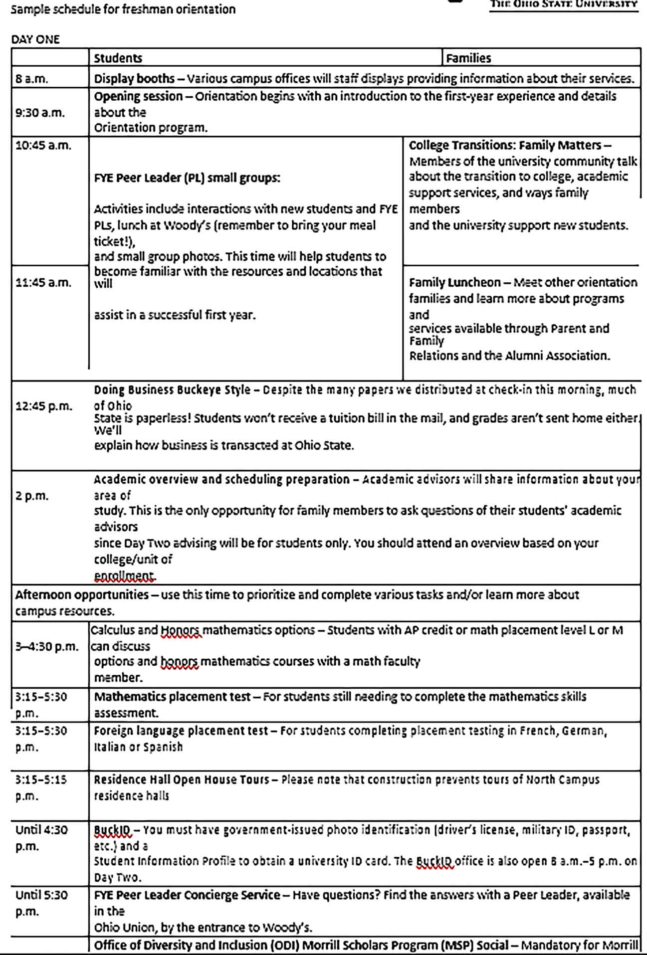 Template College Freshers Orientation Schedule Sample