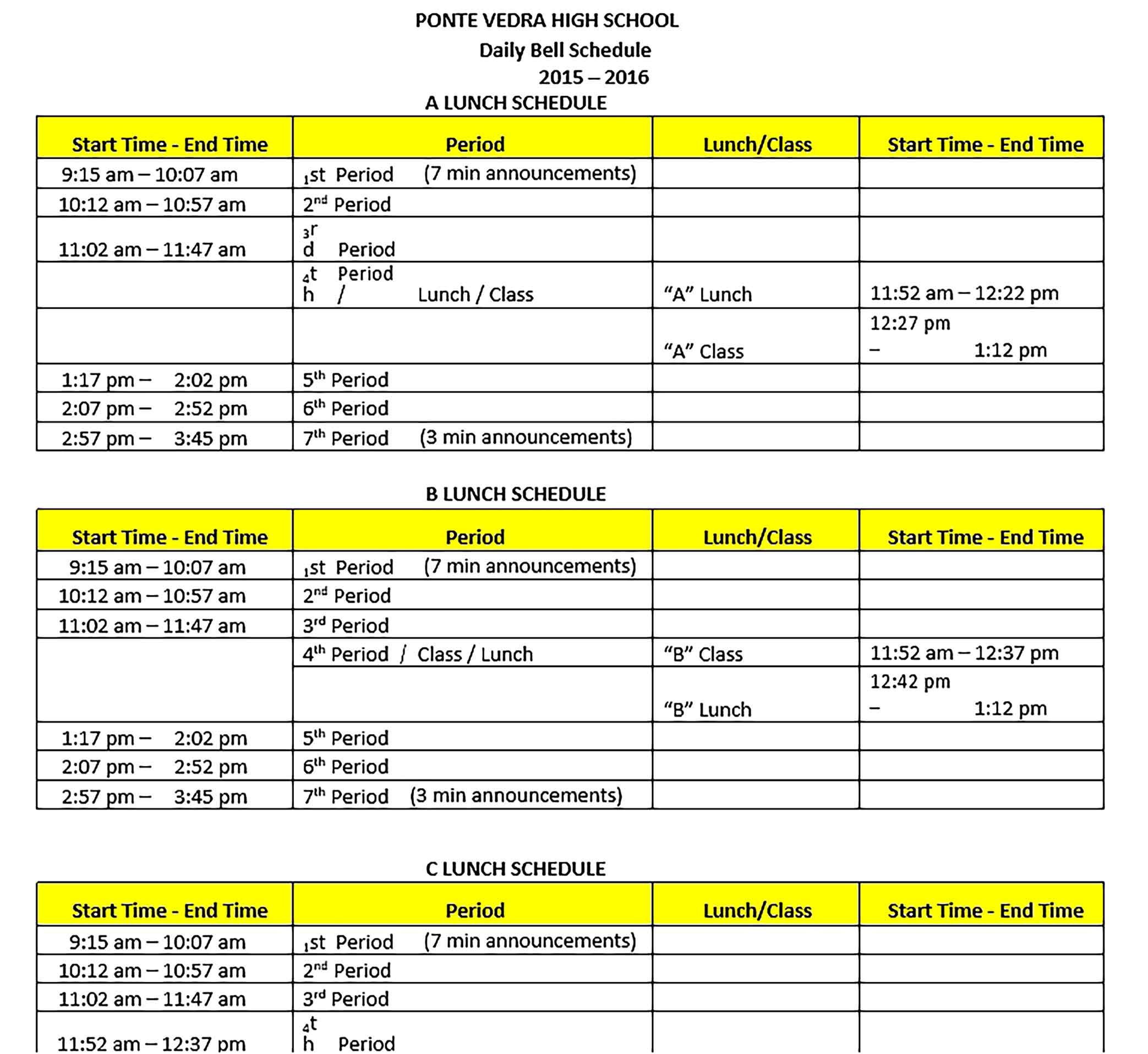 Template Daily Schedule Sample