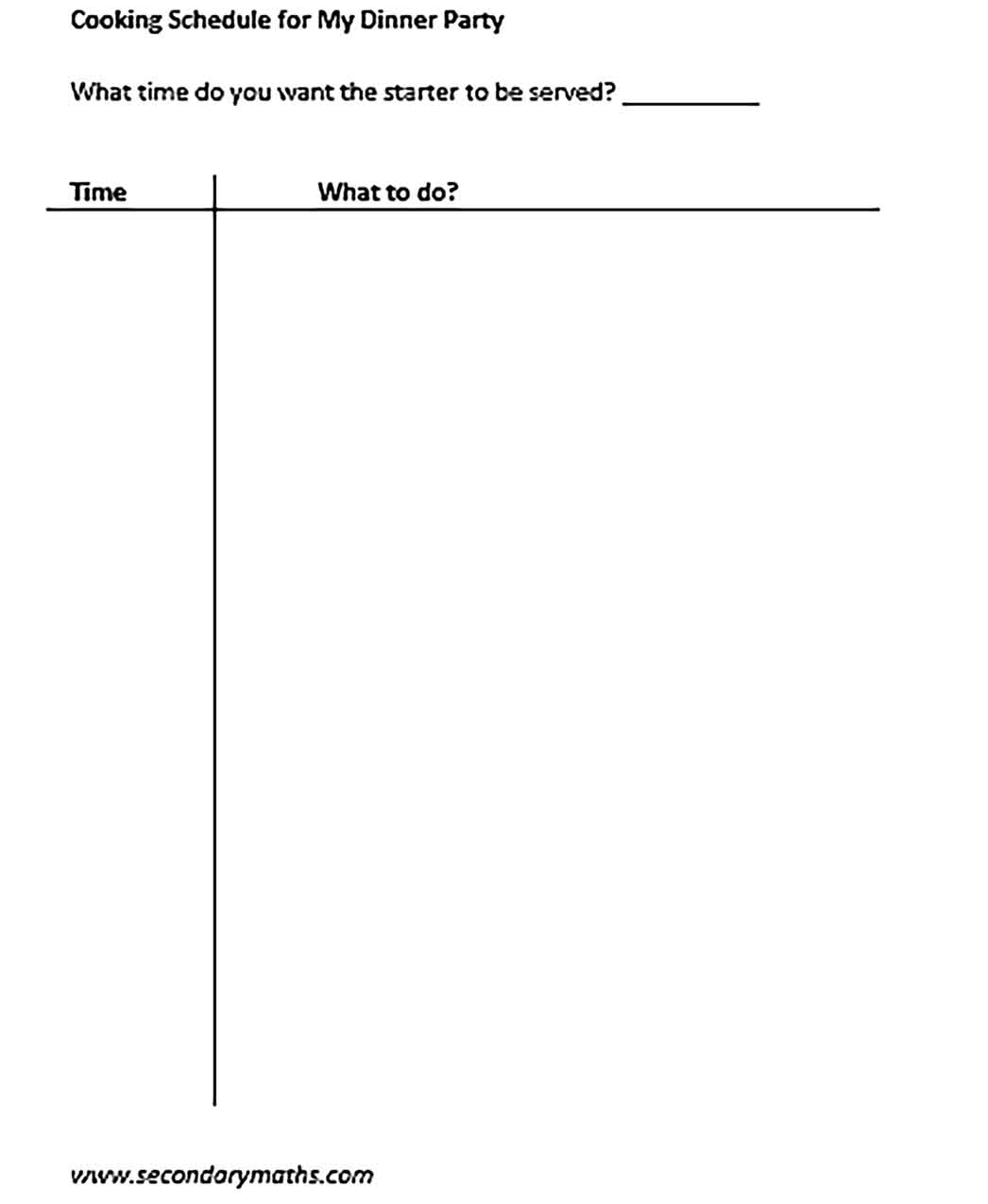 Template Dinner Party Schedule Sample