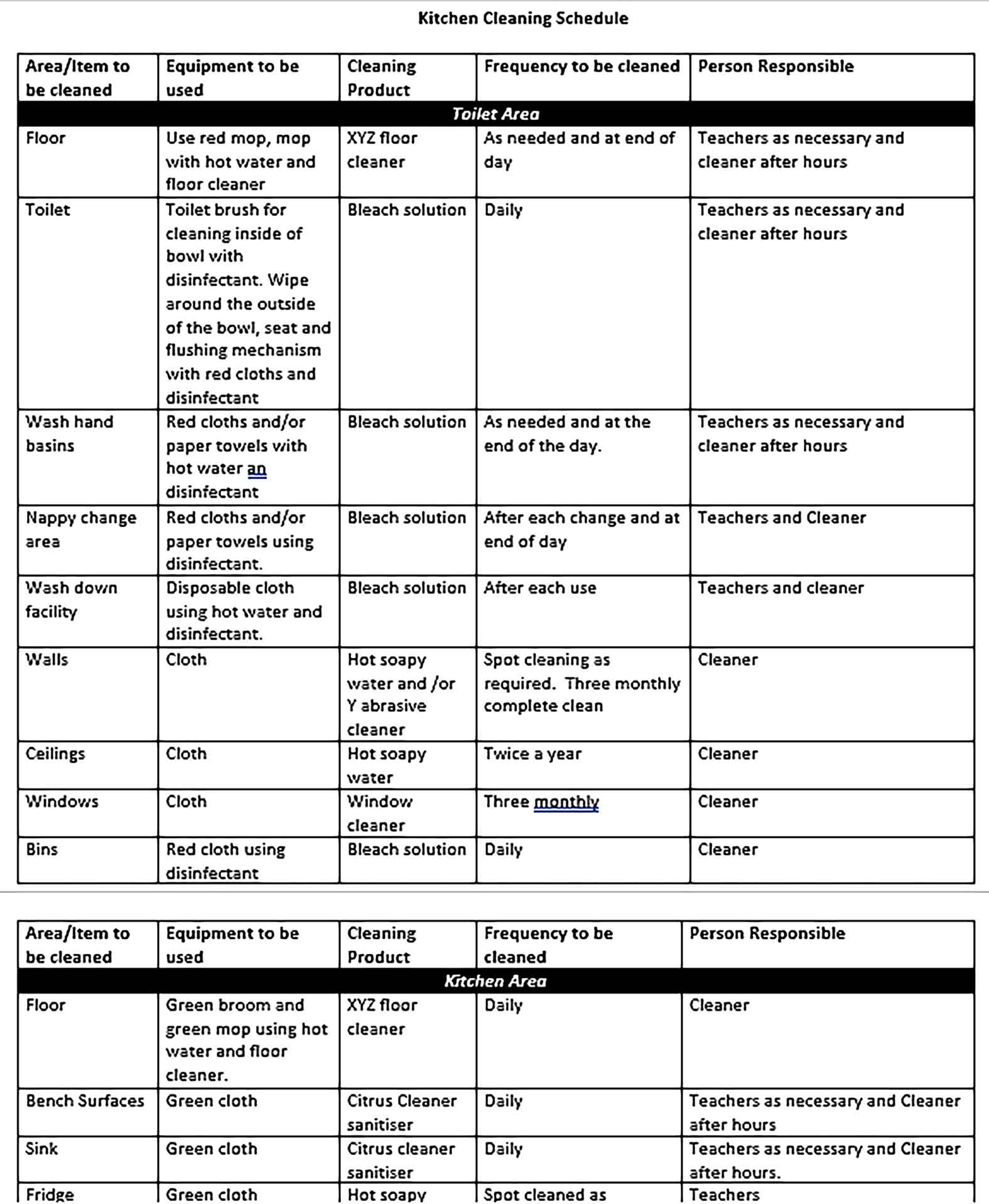Template Doc Format Kitchen Cleaning Schedule 1 Sample 001