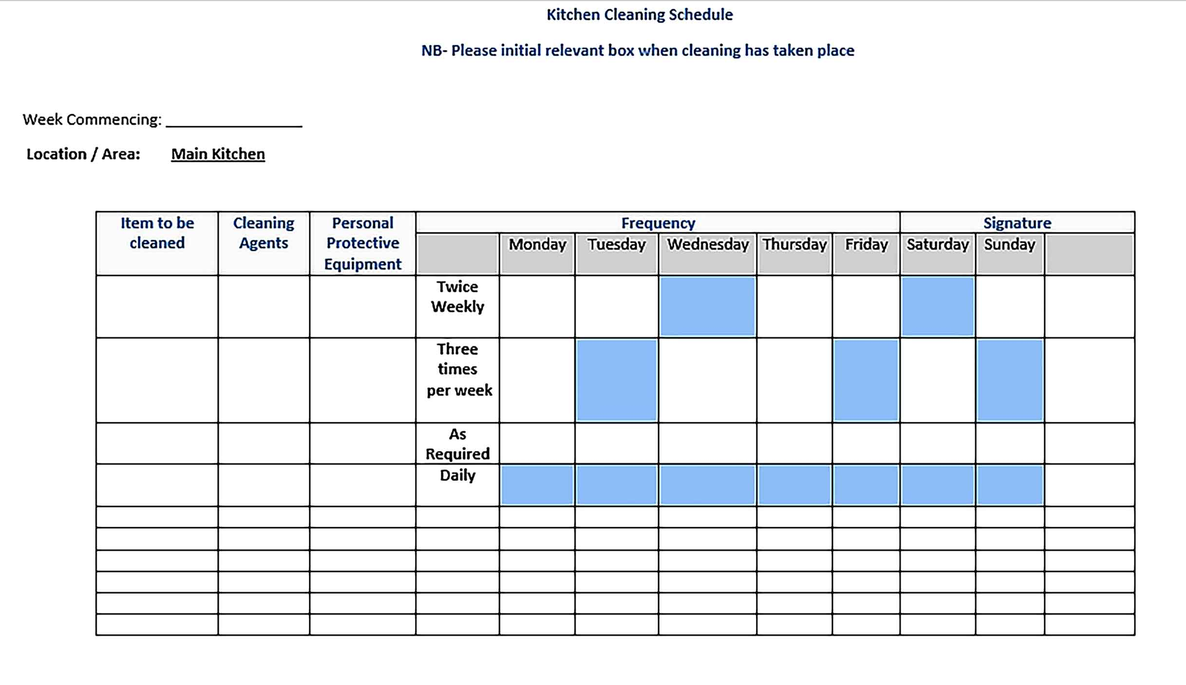 Template Doc Format Kitchen Cleaning Schedule 1 Sample 002
