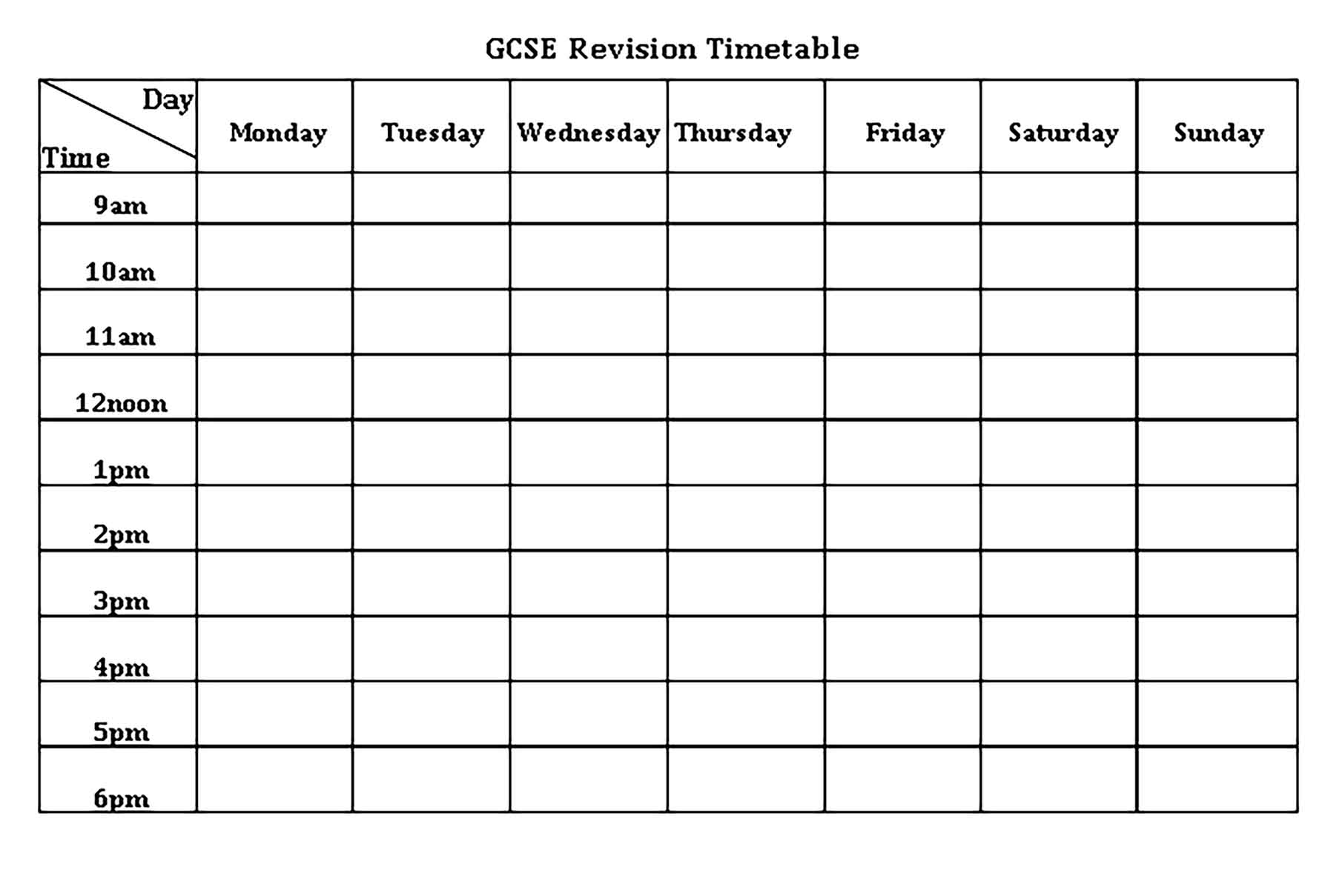 Template GCSE Revision Timetable Sample