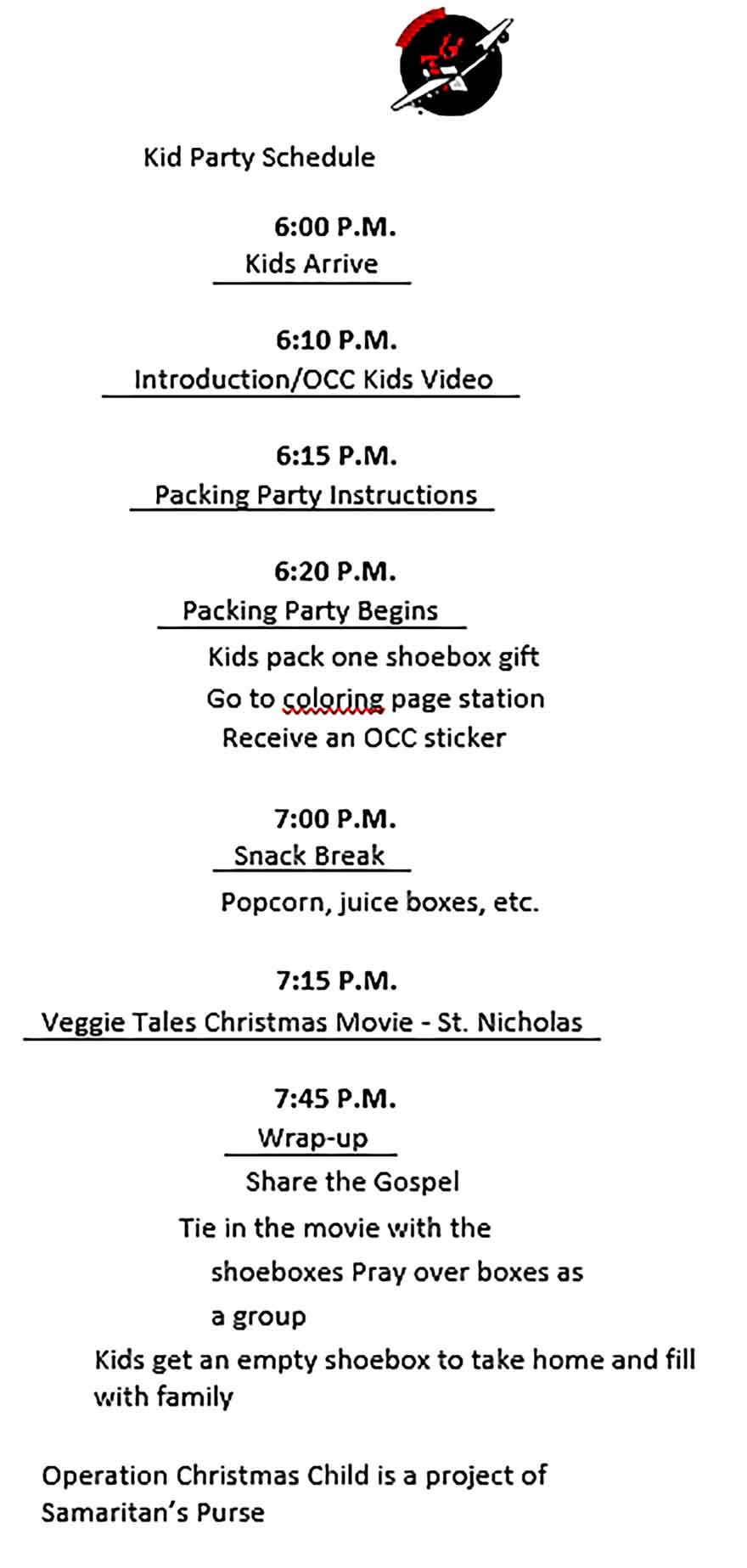 Template Kids Party Schedule Sample