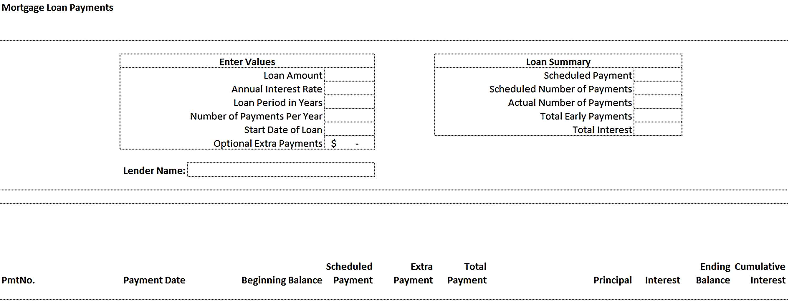 Template Loan Amortization Schedule in Excel Sample