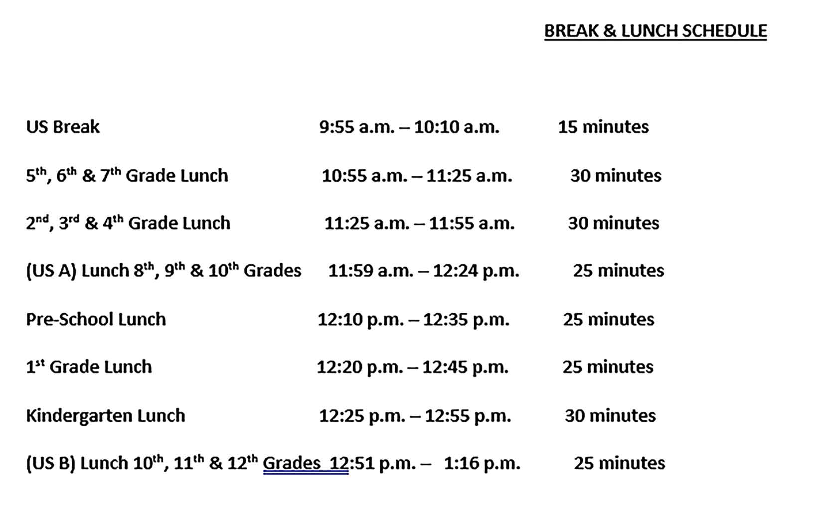Template Lunch and Break Schedule Sample