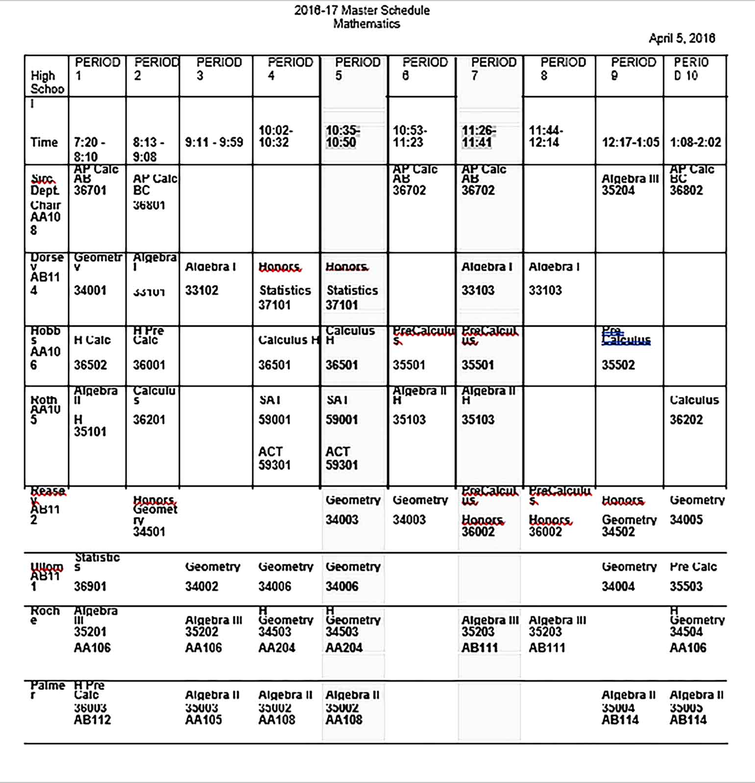 Template Master Schedule Sample