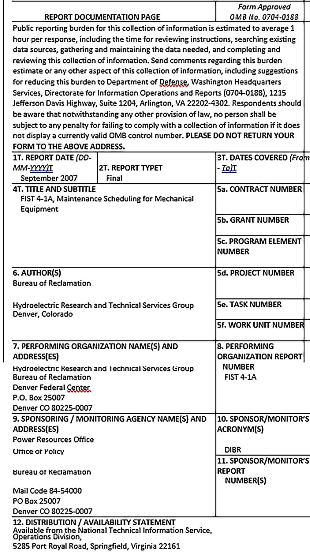Template Mechanical Equipment Maintainance Schedule Sample