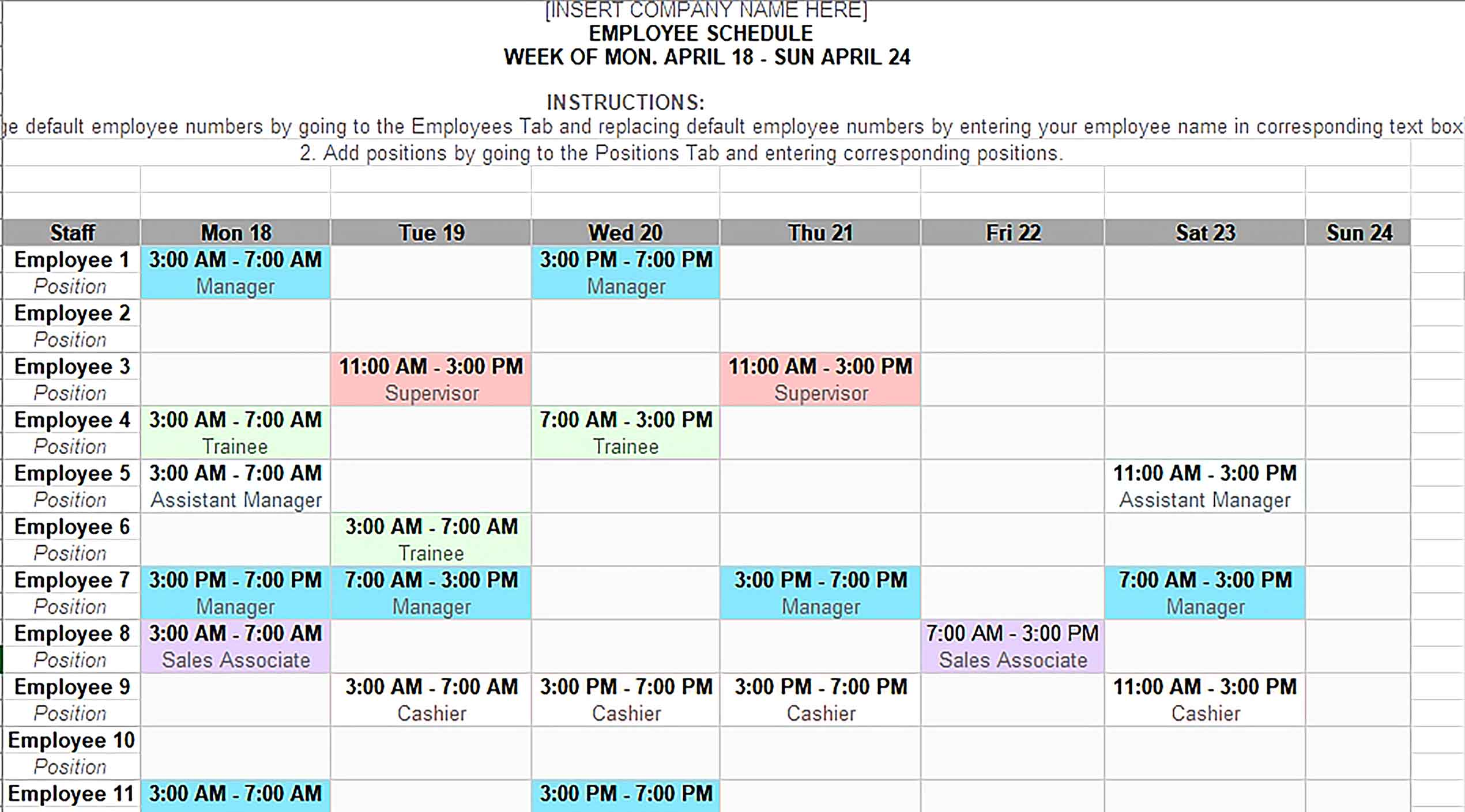 Template Monthly Shift Schedule Calendar Sample