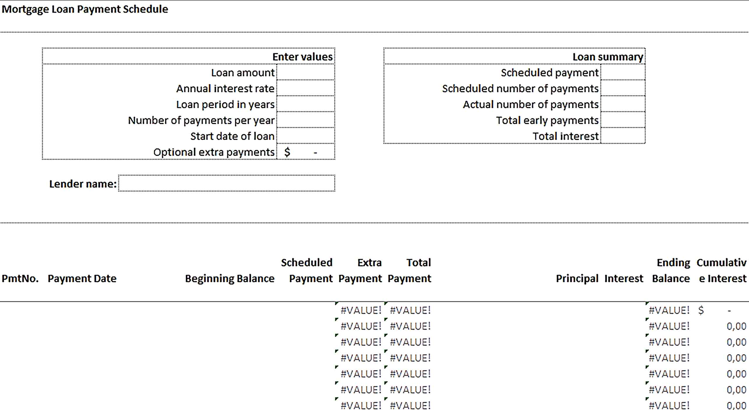 Template Mortgage Loan Payment Schedule Sample