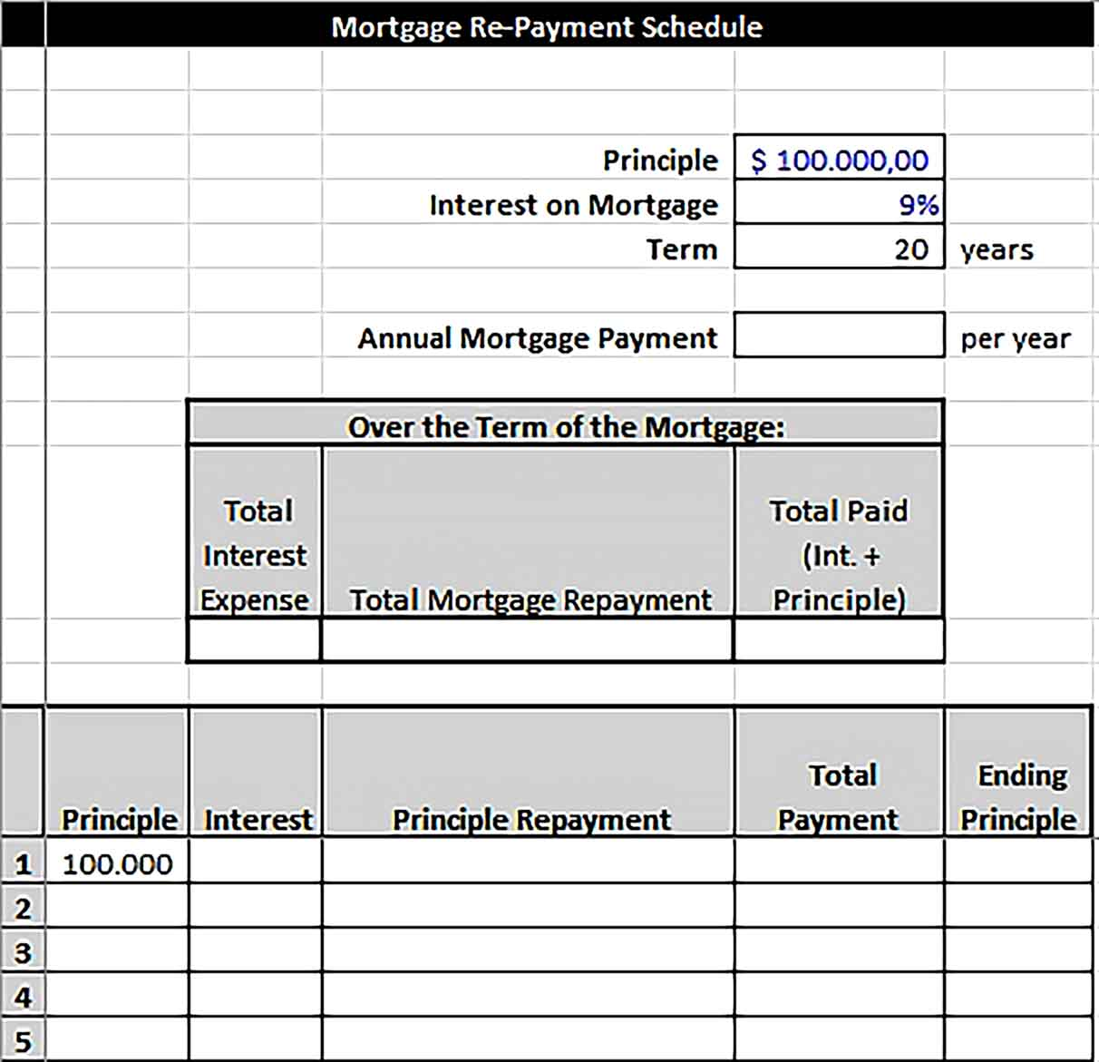 Template Mortgage Re Payment Schedule in Excel Sample