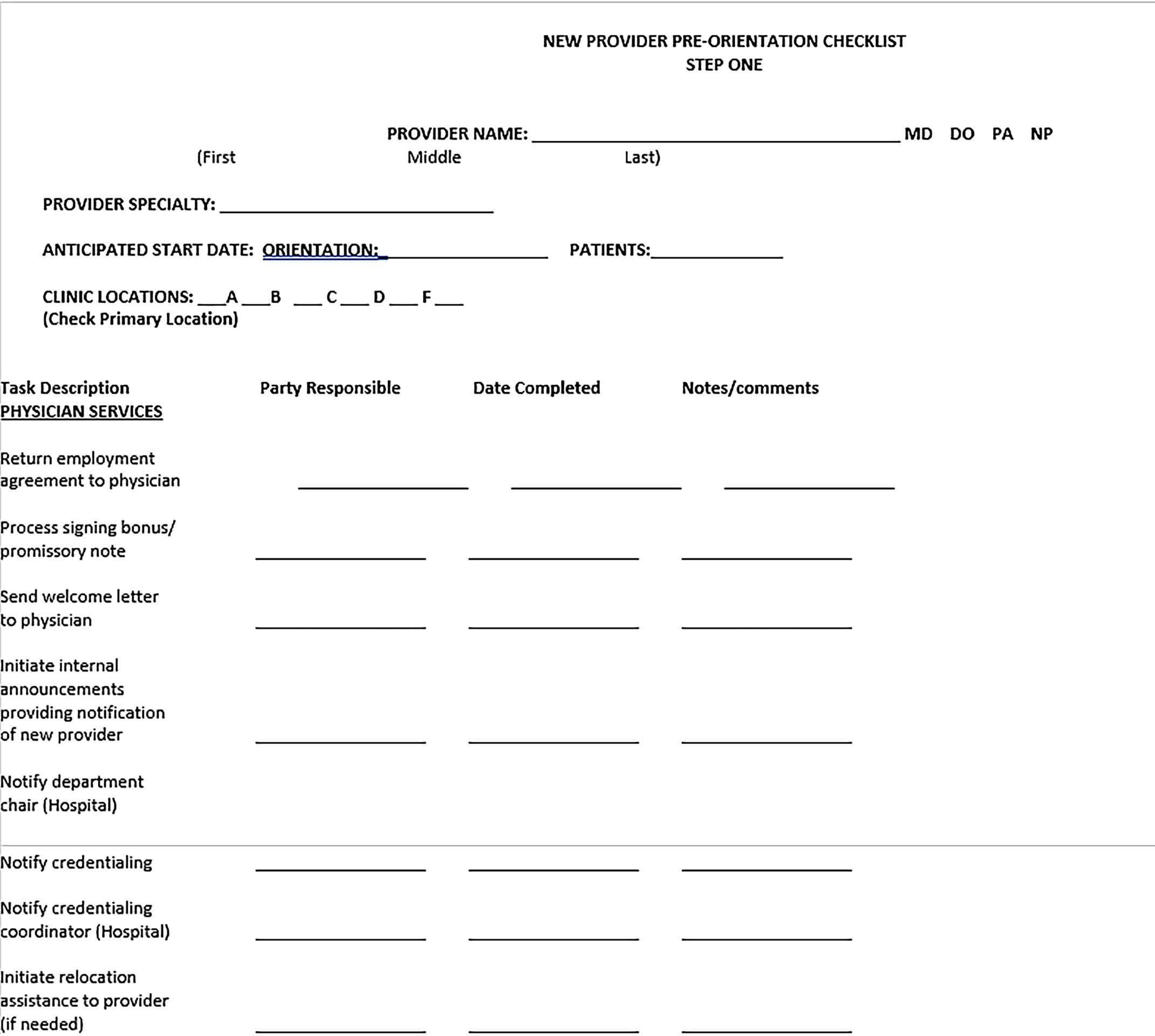 Template New Physician Orientation Checklist Sample