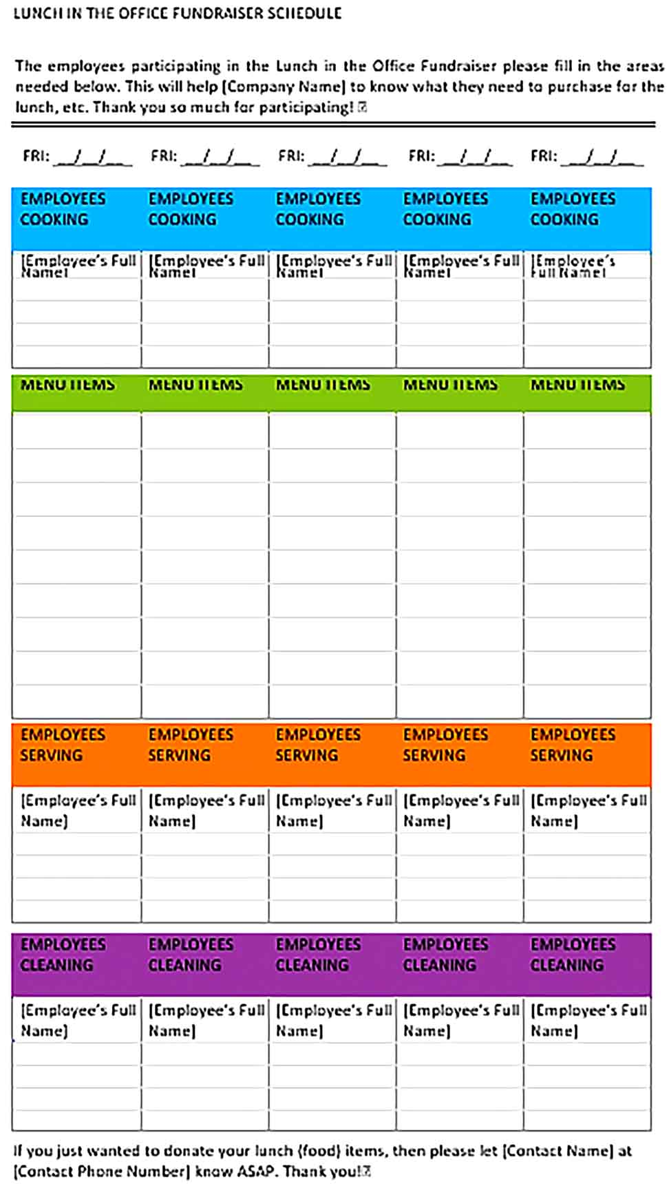 Template Office Lunch Schedule Sample