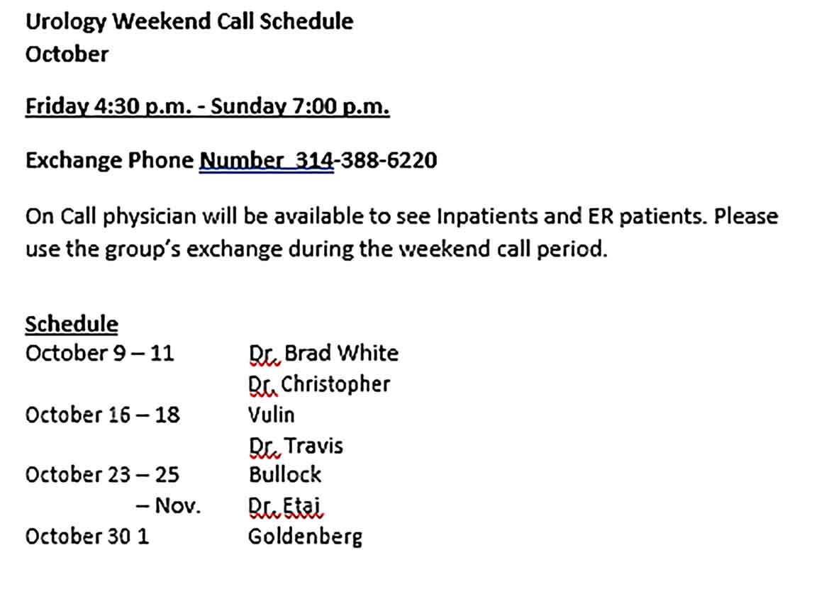 Template Physician On Call Schedule Sample