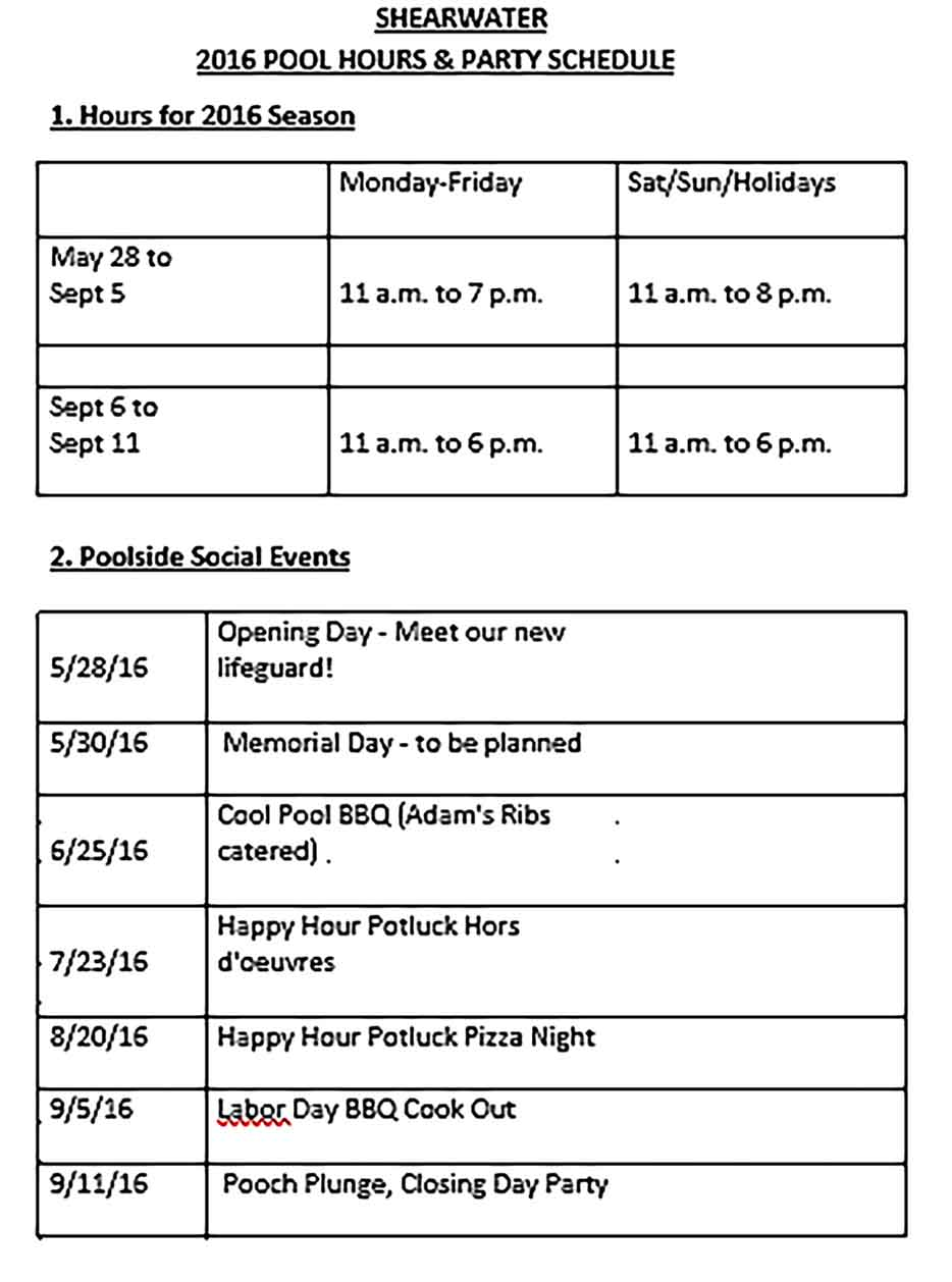 Template Pool Party Schedule Sample