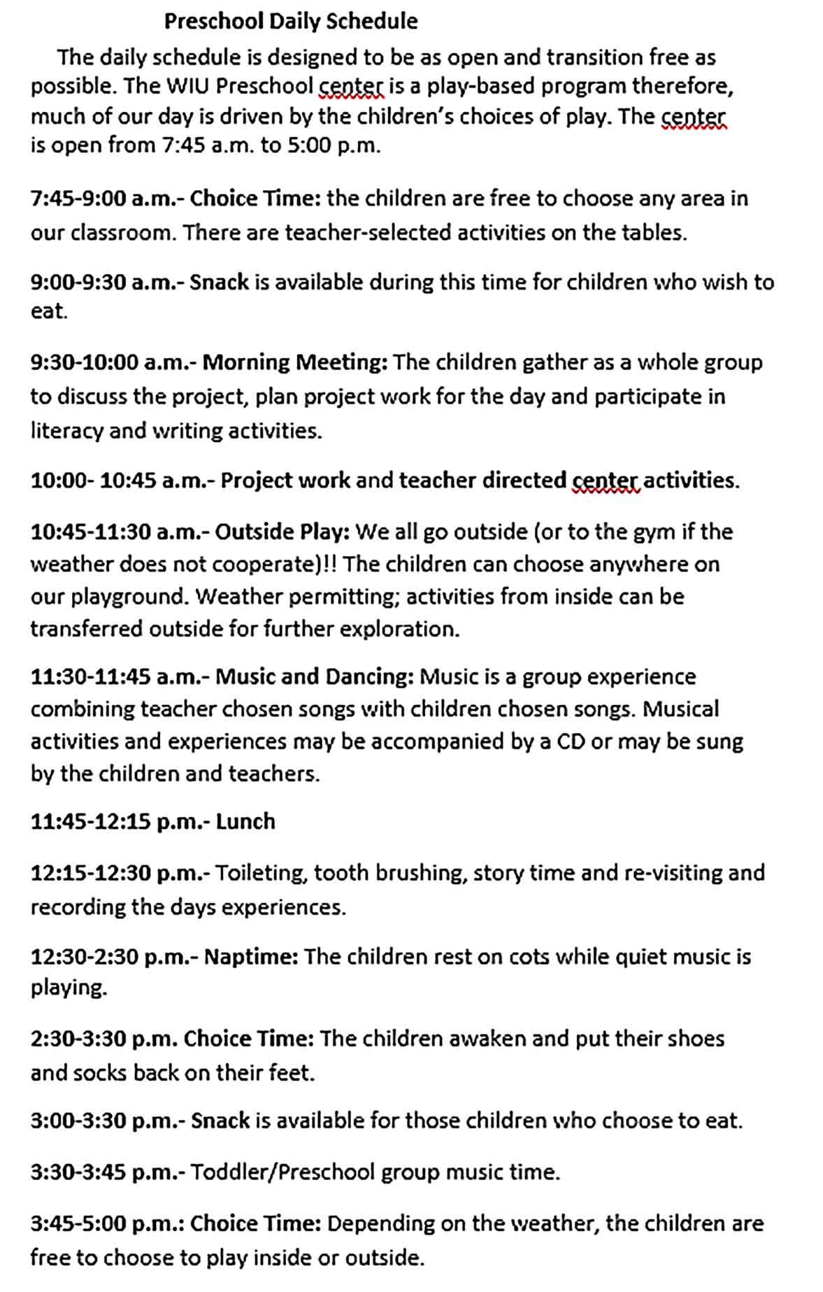 Template Preschool Daily Schedule Sample