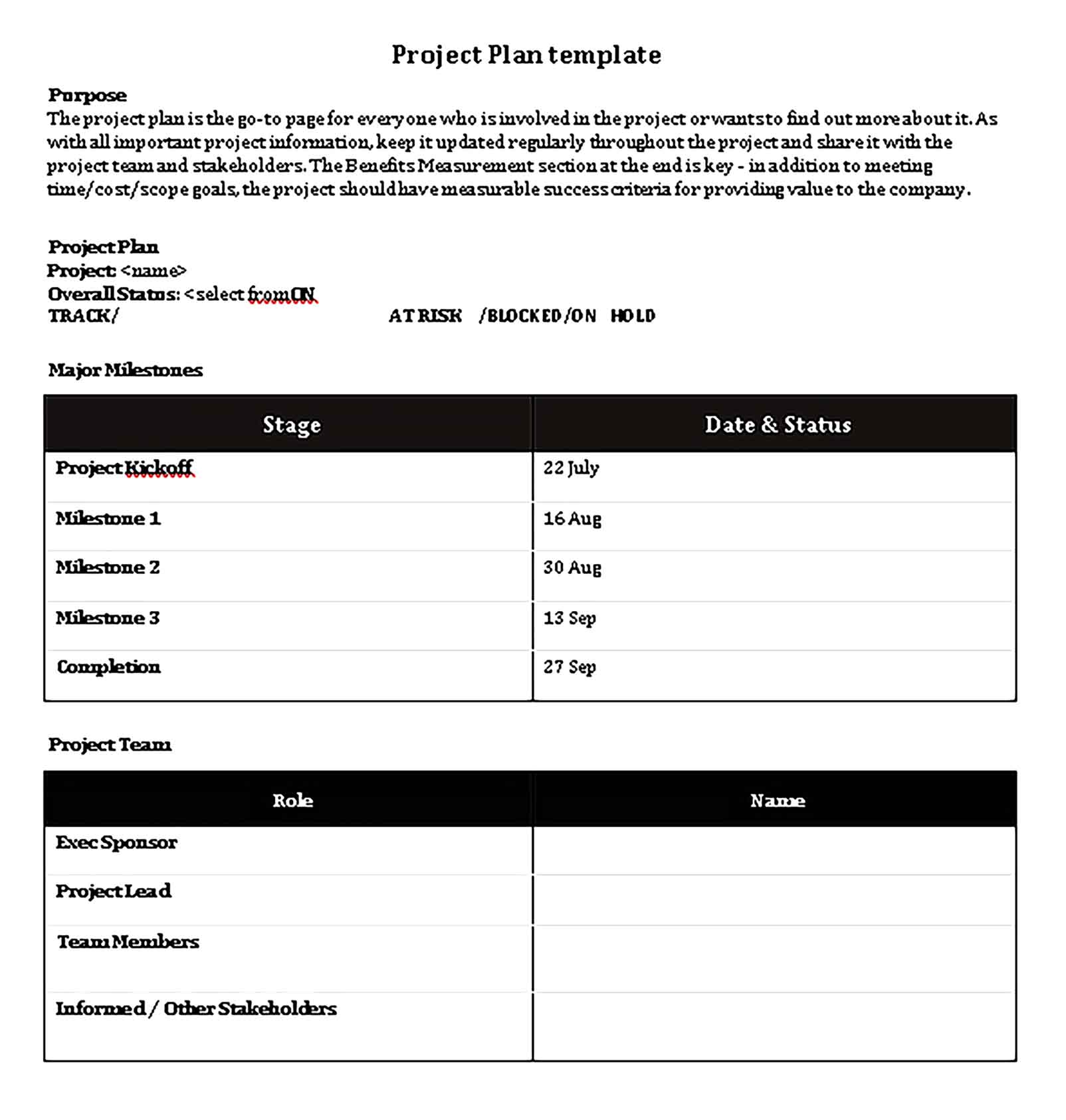 Template Project Schedule Plan Sample