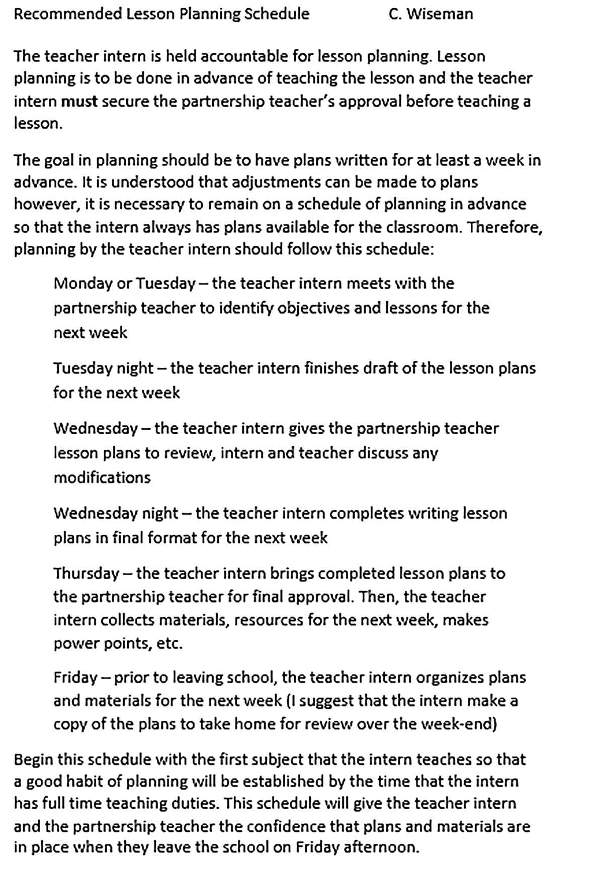 Template Recommended Lesson Planning Schedule Sample