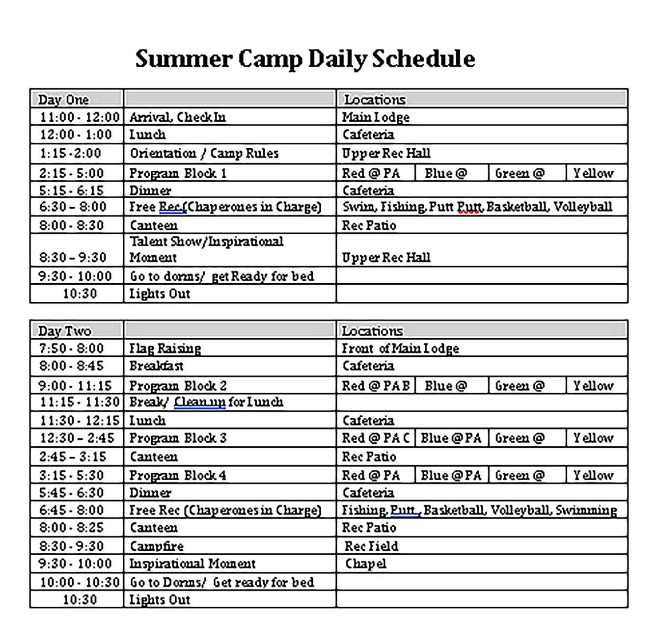 Template Summer Camp Daily Schedule in Sample