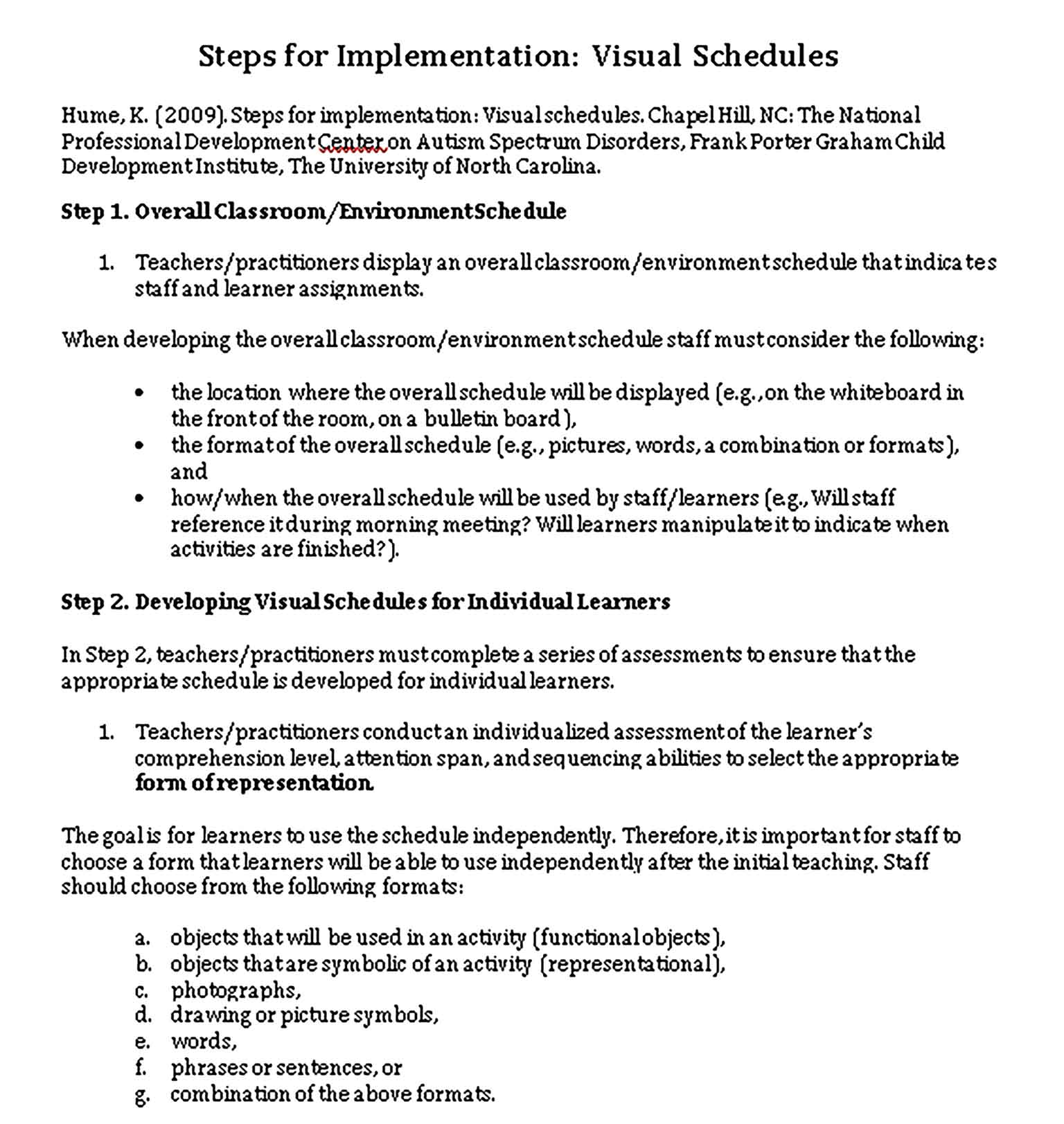 Template Visual Schedule Implementation Guide Sample