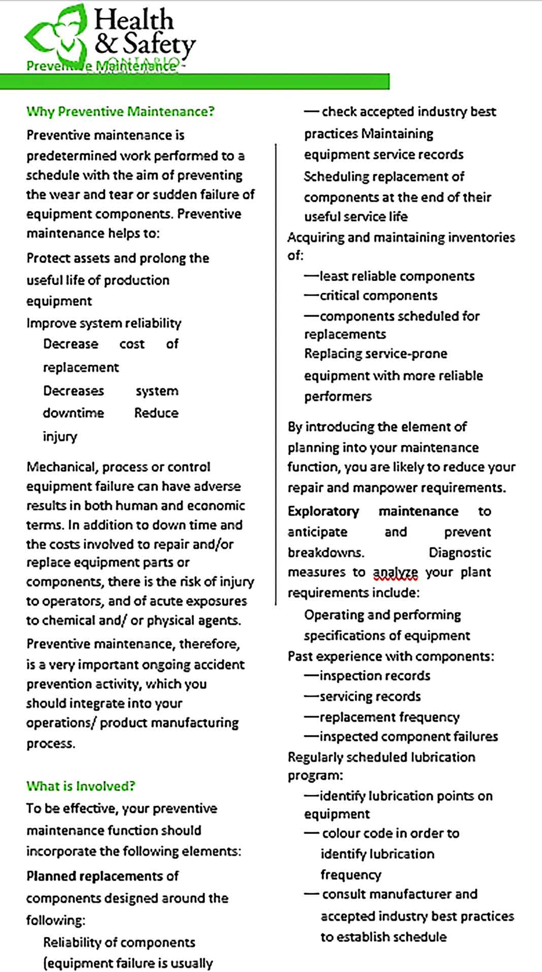 Template Why PreventIve Maintenance Format Sample