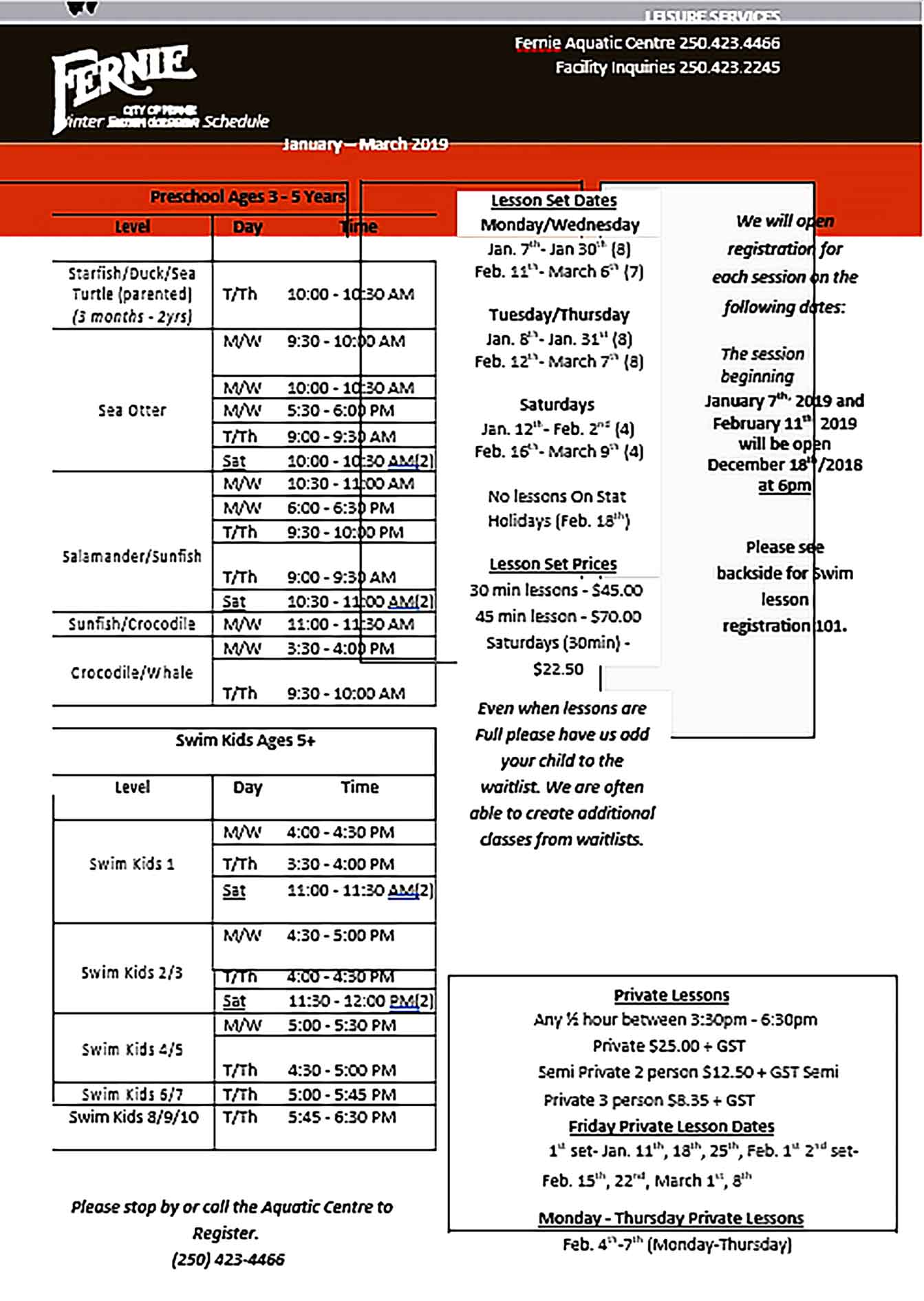 Template Winter Swim Lesson Schedule Sample