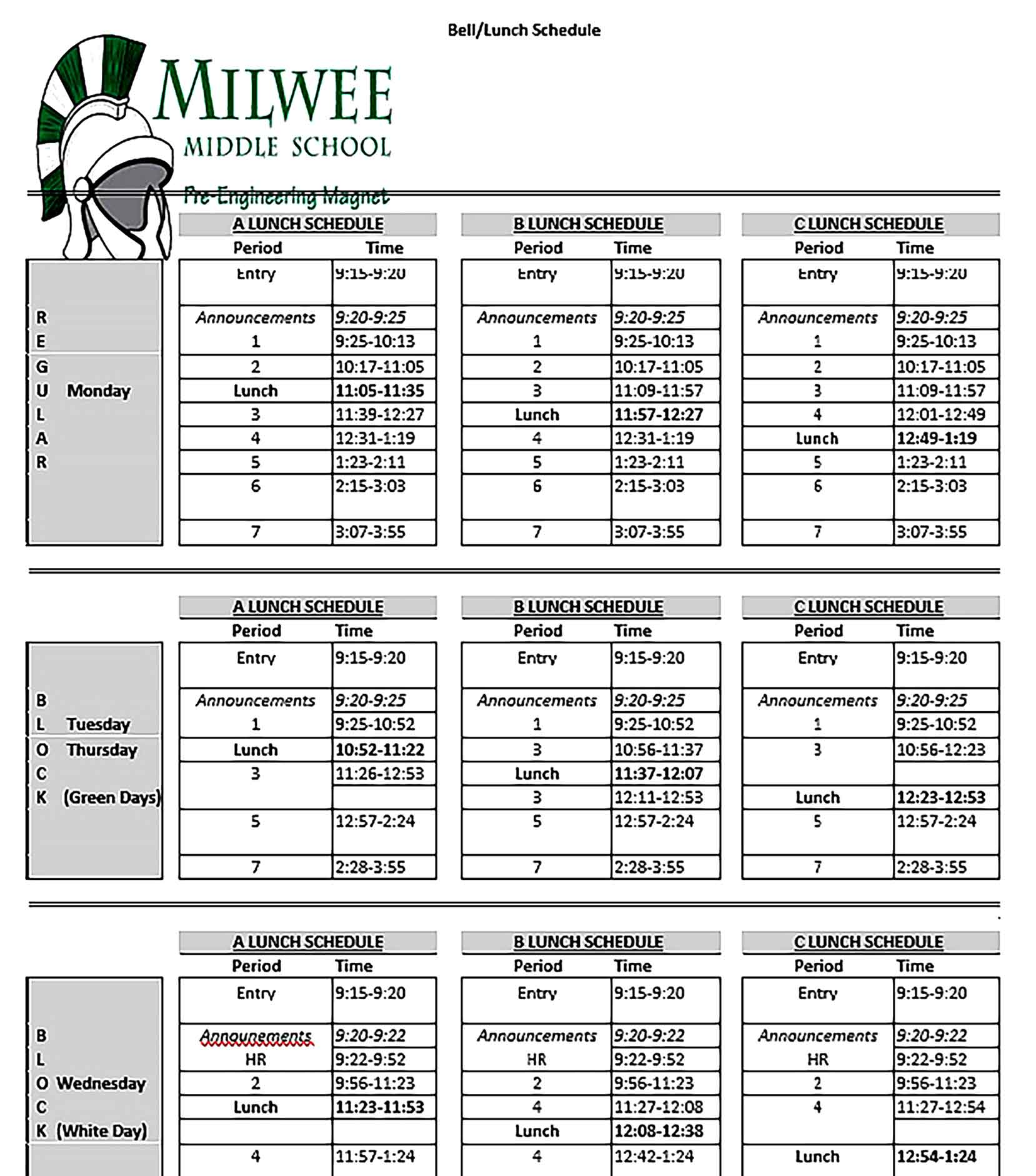 Template of Lunch Schedule Sample