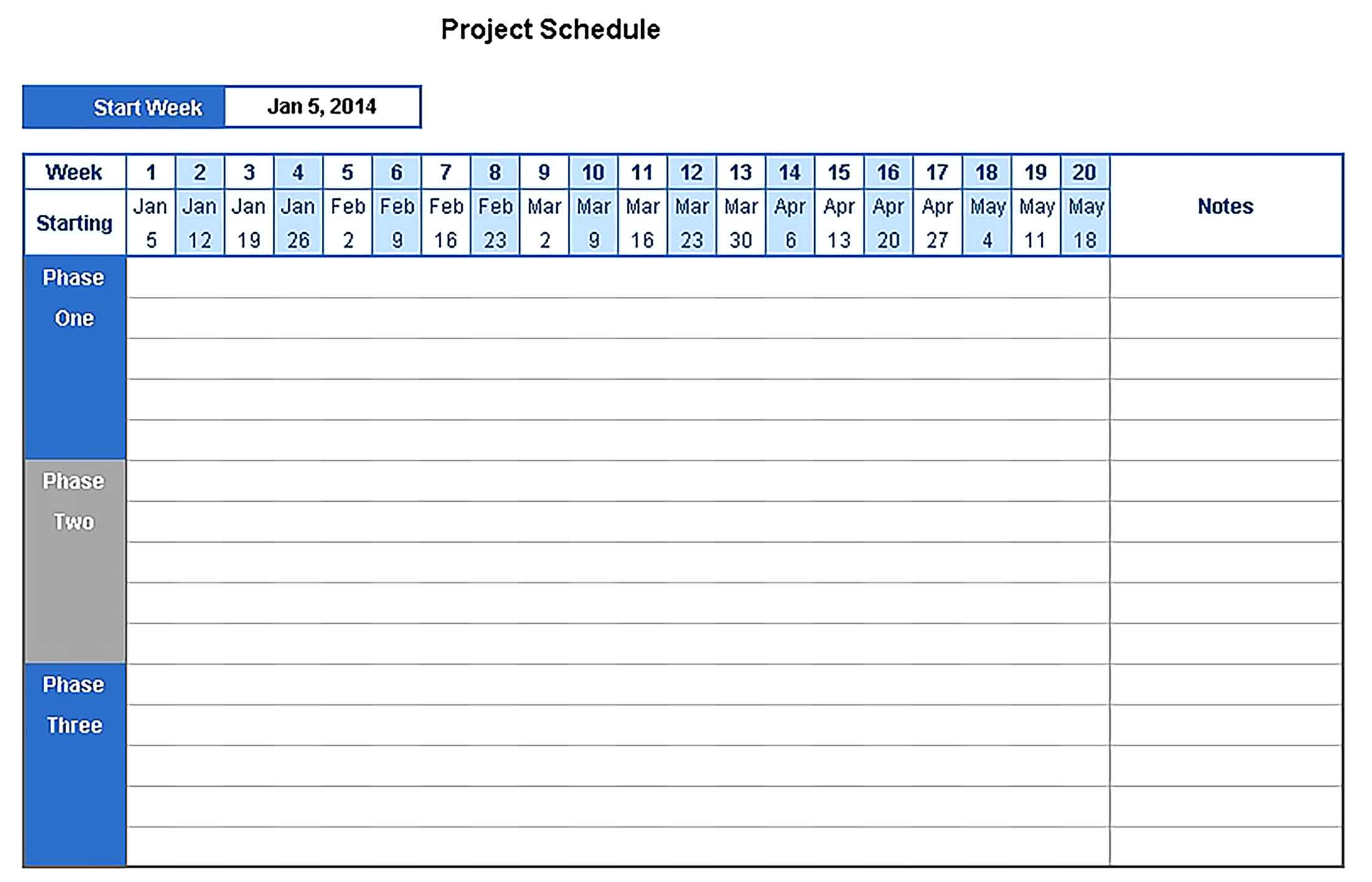Template project schedule Sample