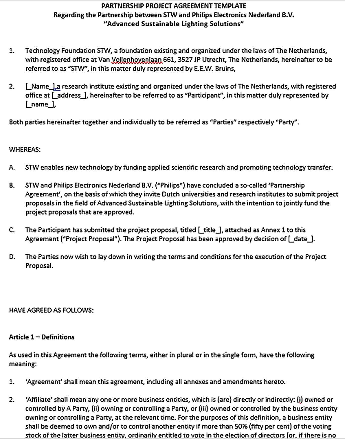 Sample Business Partnership Project Agreement in Word