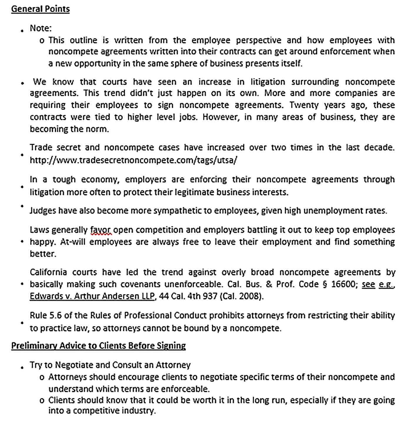 Sample Drafting Non Compete Agreement