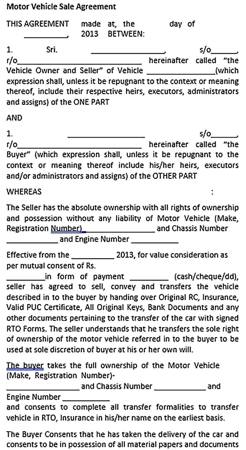 Sample Motor Vehicle Sale Agreement