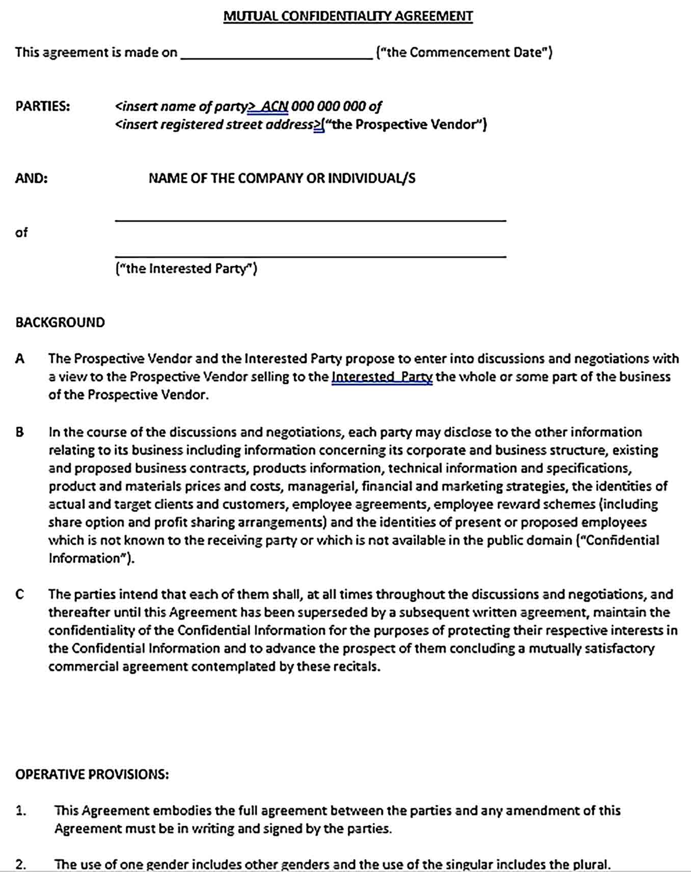 Sample Mutual Basic Confidentiality Agreement