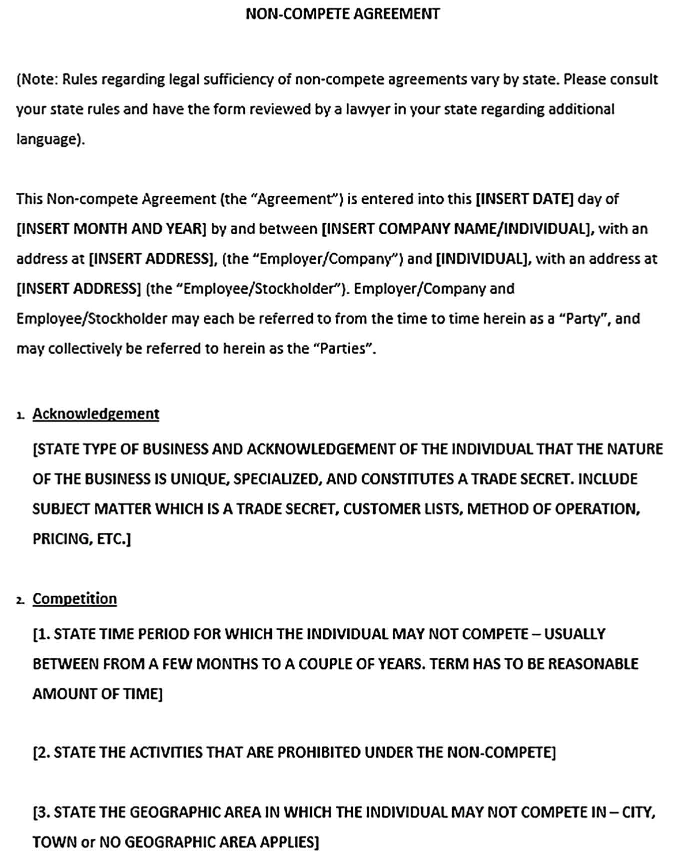 Sample Non Compete Agreement Between Businesses