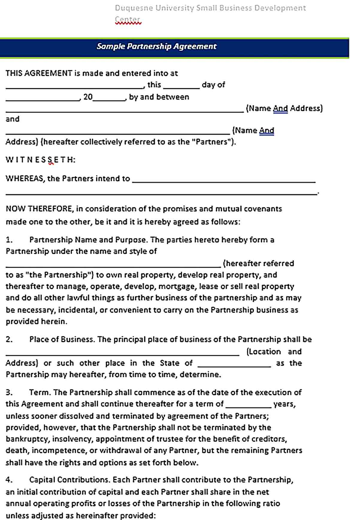 Sample Partnership Agreement For Small Business