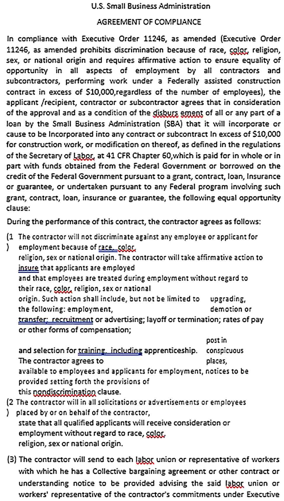 Sample Small Business Administration Agreement 1