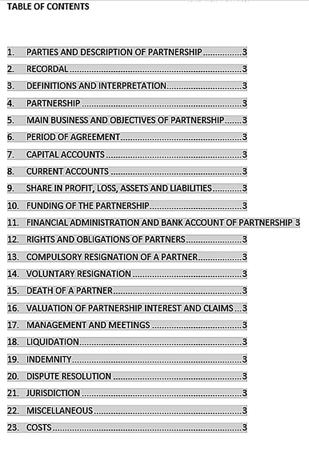 Sample Standard Business Partnership Agreement