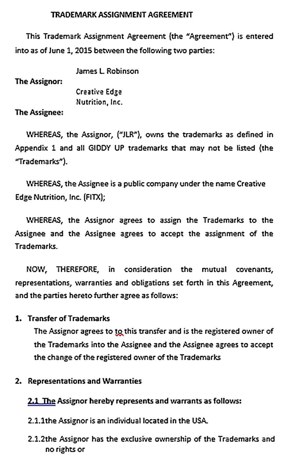 Sample Trademark Assignment Agreement