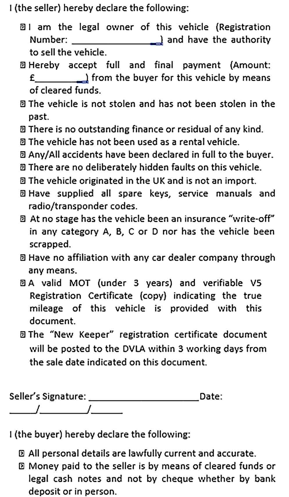 Sample Used Car Sales Agreement