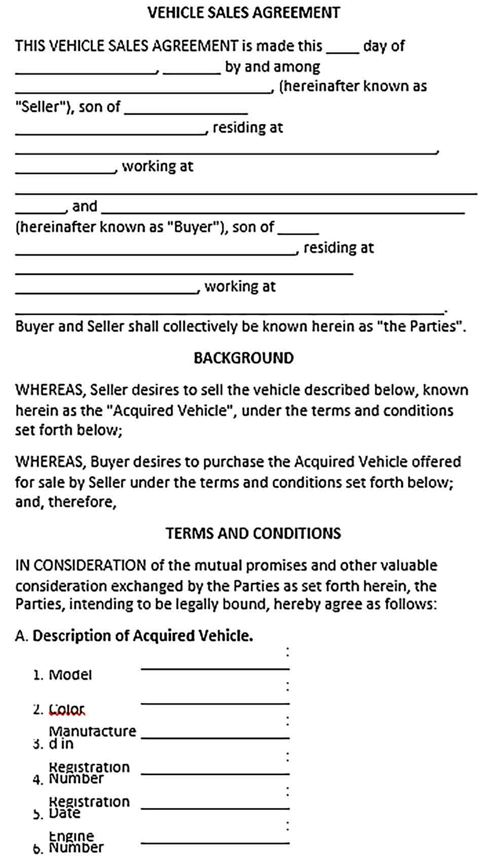 Sample VEHICLE SALES AGREEMENT 1