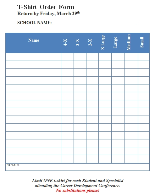 Templates Blank T Shirt Order Form Example