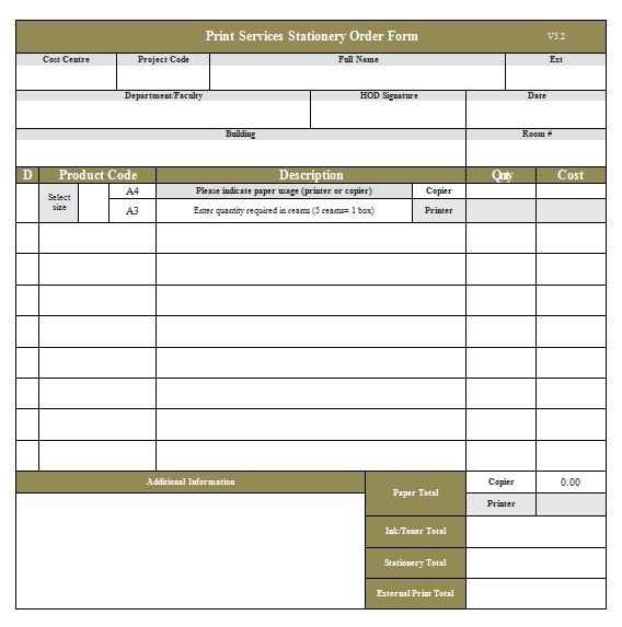 Templates Stationery Service Order.2 Example