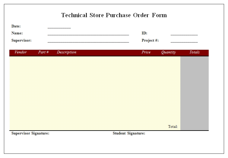 Templates Technical Store Purchase Order Form Example
