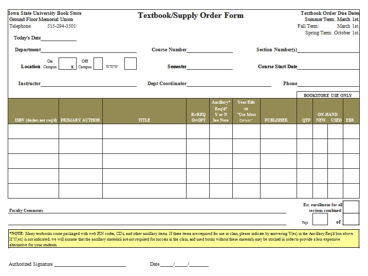 Templates Textbook Supply Order Example