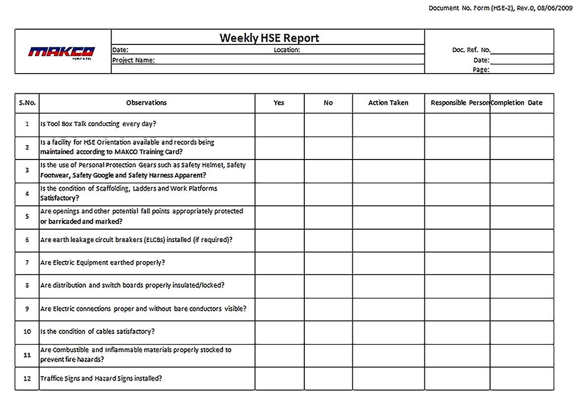 Templates for Daily Job Safety Analysis 2 Sample