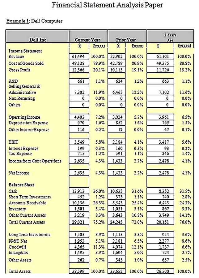 Templates for Financial Statement Analysis Paper Sample