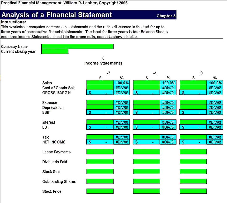 Templates for Financial Statement Analysis in Excel Sample
