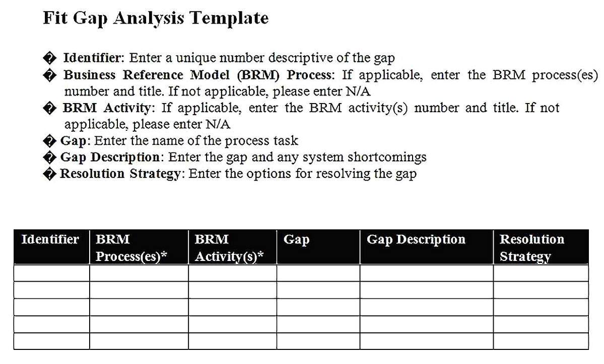 Templates for Fit Gap Analysis Report Sample